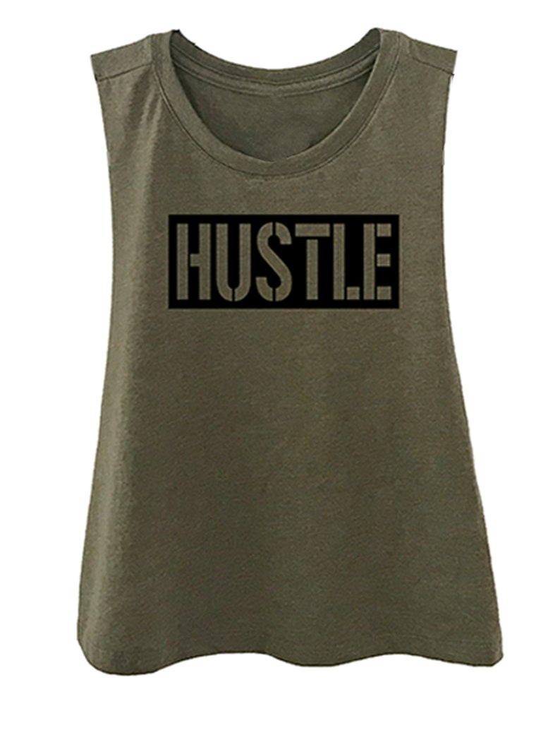 Crossfit Athletic Tank Core Workout Shirt Fitness Motivation Hustle Cropped Tank Top Workout Tanks For Women Gym Crop Top