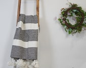 Fabulous Moroccan Pom Pom Blanket Throw, Handwoven cotton blanket, bedroom blanket