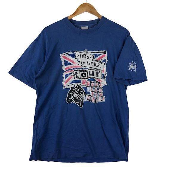 Vintage 90' STUSSY UK Tour London Skateboard Tee S
