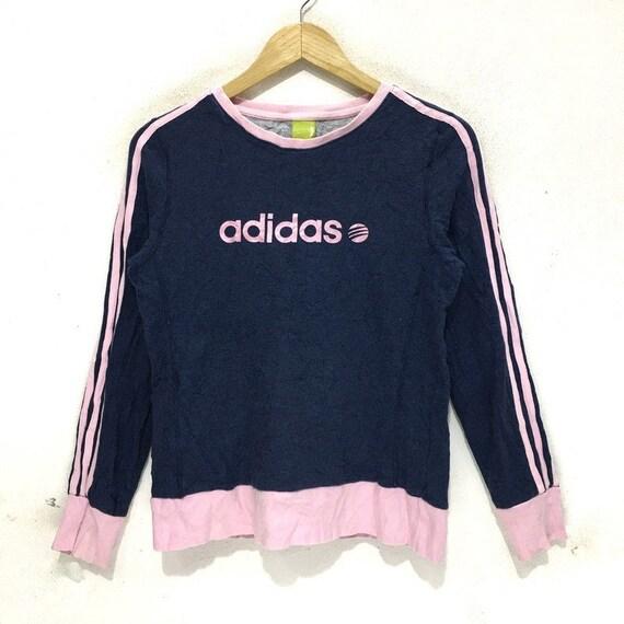 ADIDAS Women Sweatshirt Big Logo Spell Out Pink Li