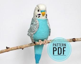 Budgie crochet pattern , Amigurumi budgie bird pattern PDF in English , Parrot toy