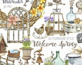 Watercolor Spring Decor Clipart. Farmhouse Rusty Iron Element Clip Art. Easter Clipart French Style Decor. Wooden greenhouse, flower pot PNG