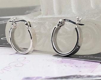 Basic silver hoops Silver hoop earrings Flat hoop earrings Boho silver hoops Shining silver hoops Hoop earrings Christmas gift