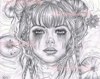 Ophelia - Gothic girl  Creepy - Horror - Coloring page  - grayscale - beautiful girl - Instant download -  Dark Fantasy - Gothic
