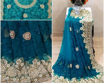 Organza saree pearl embroidery border party wear Indian women sarees custom made stitched brocade blouse with complimentary bangles