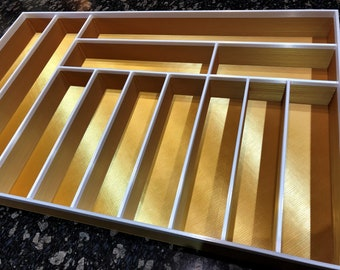 Custom Silverware  Drawer Organizer, 12 compartment organizer for silverware and utensils, large drawer insert, 100% Custom to your specs