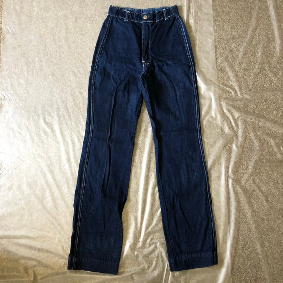 Vintage 1970s High Waist Blue Denim Jeans - image 2