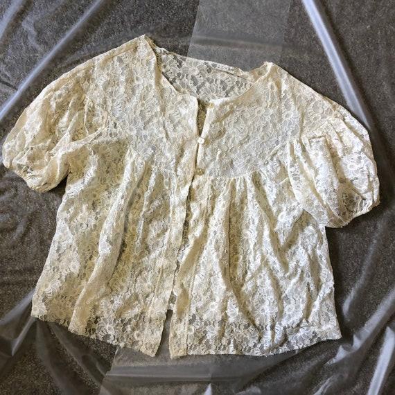 Vintage 50s / 60s White Lace Blouse