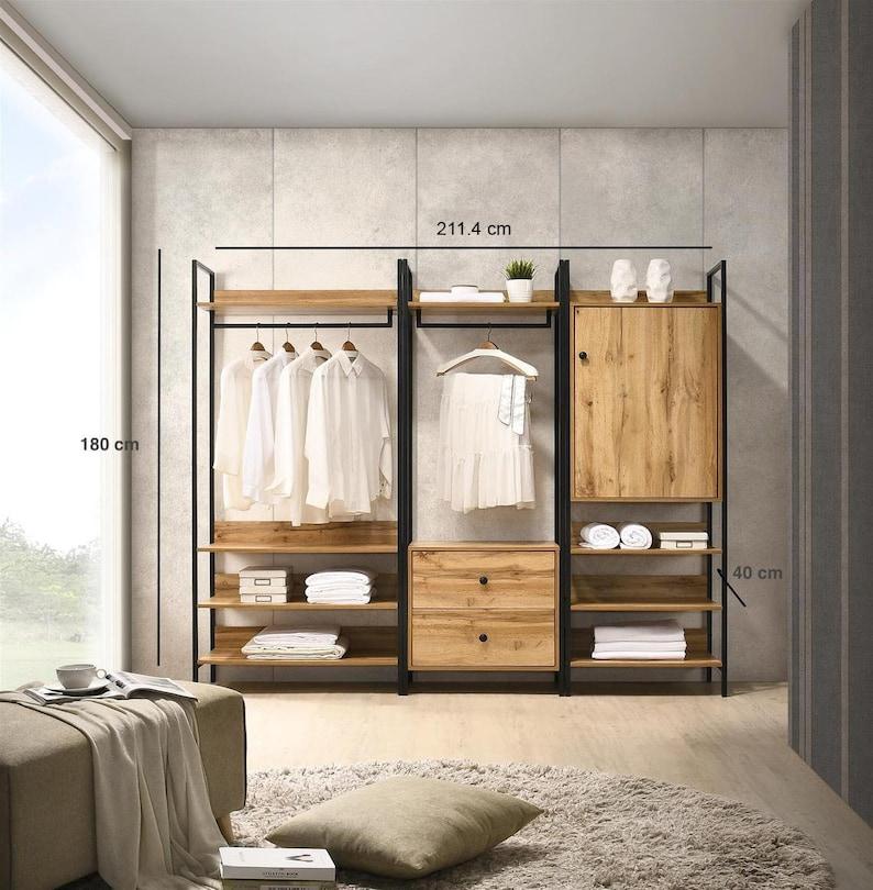 Walk in Wardrobe Fittings Oak Effect Open Wardrobe System ...