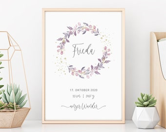 Birth Poster | Gift Birth | Poster | Eucalyptus | Gold | Pink