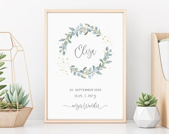 Birth Poster | Gift Birth | Poster | Eucalyptus | Gold | blue