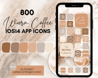 Coffee Theme iOS 14 App Icons, 800 Warm Neutral Aesthetic iPhone App Icons,  Home Screen Icon & Widget, App Icons, App Icon Covers, App Pack