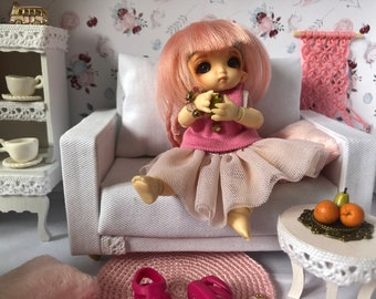 Miniature single sofa Miniatures Dollhouse sofa Dollhouse miniature Dollhouse decoration Dollhouse miniature artisan Photography props