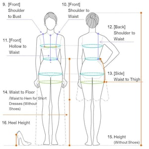Wedding Dress / Measuring Guide / How to take measurements.   Etsy