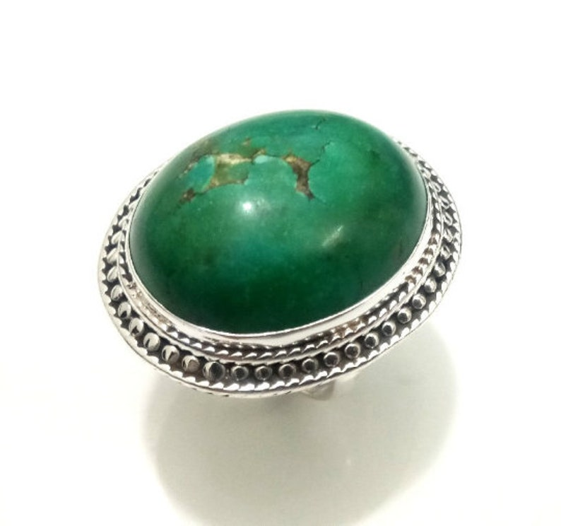 Vintage Handcraft Tibetan Turquoise in Pure 925 Silver,Wonderful Handmade Work,Sterling Silver Ring Antique Looking Silver Ring Adjustable
