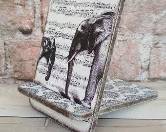 Tablet Stand Retro Elephant  Decoupage