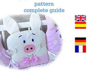 DIY, Pig pillow Crib Bumper Pattern,Easy to Make,pdf,bumper in crib animal,animals bumper for baby,Pillow pig for baby crib,Crib set pattern