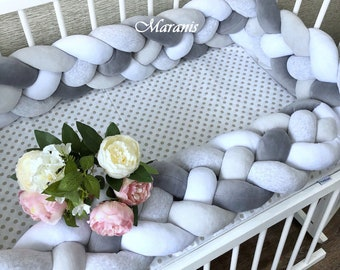 Double Braided Crib Bumper, Bumpers in the crib,Braided Crib Bumper,Knot Pillow,Knot Cushion, Crib Bumper, Braided bumper, Braid crib bumper