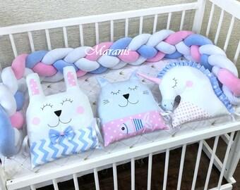 Double Braided Crib Bumper, Bumpers in the crib, Knot Cushion, Bolster Pillow, Crib Bumper, Kids Pillow, Nursery Decor, Baby Bedding