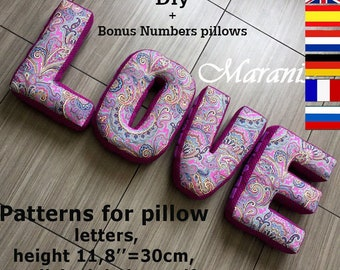 """Soft letter pillows pattern,pdf, Alphabet nursery decor, English alphabet with a height of 11.8"""" patterns, pillow letters own hand, Cot"""