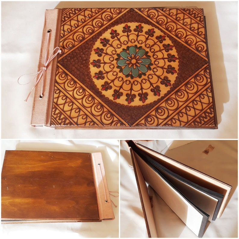 Vintage 80s Plywood Cover Photo Album,Hand Carved Floral Cover Photo Album,Rustic Home Decor,Vintage Gift