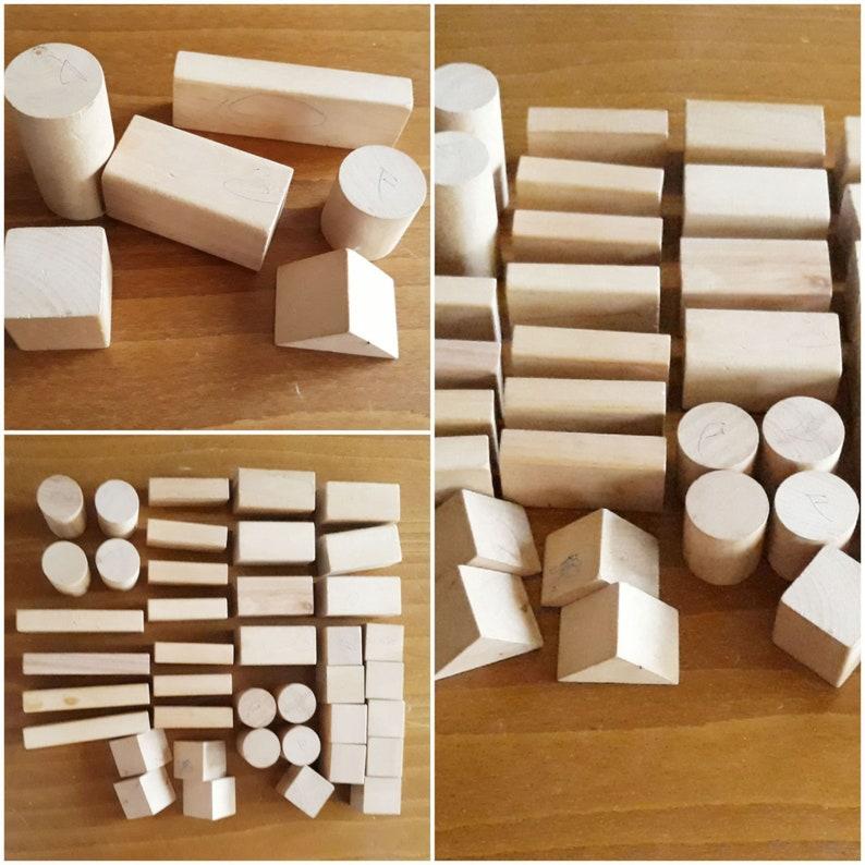 Vintage 90s Set of 40 Wooden Beige Blocks,Different Shapes Blocks,Wooden Building Blocks Children/'s Toy