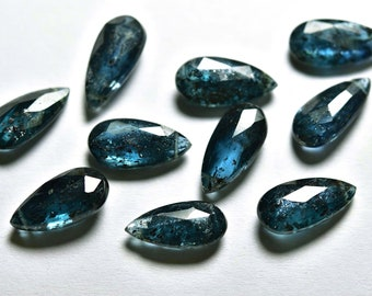 9 Inches Strand Rare Natural Teal Blue Moss Kyanite Faceted Pyramind Briolettes Size 15x8mm