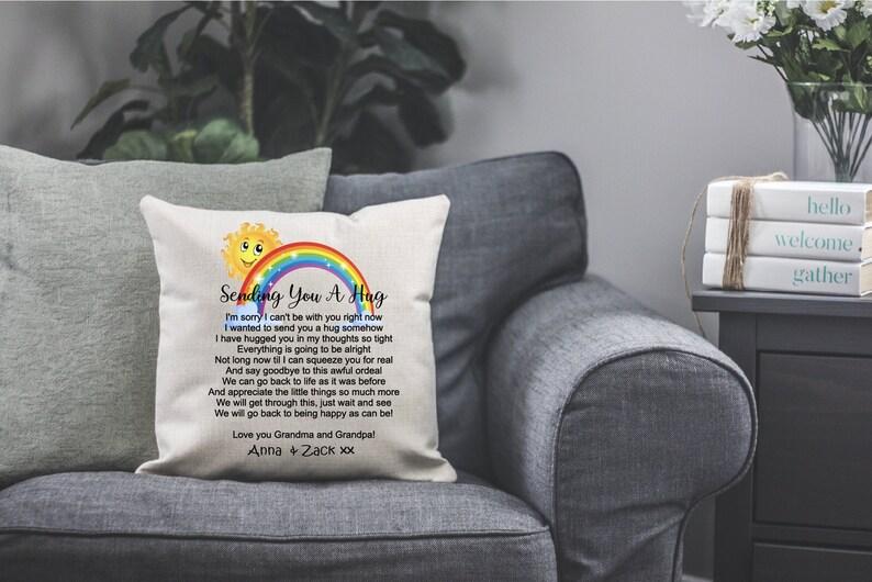 Nanny Quarantine Pillow Gramps Gifts for Grandparents Nana Papa Sending you a hug pillow Custom Pillow Grandparents Pillow