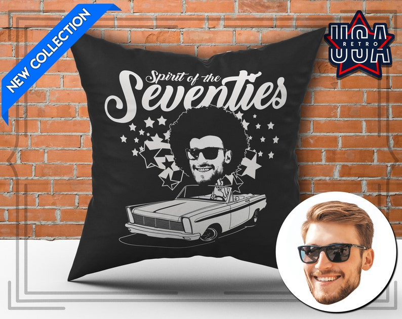 Gift for Birthday 70/'s Funny Cartoon Afro Hairstyle Pillow Muscle Car Pillow Custom Pillow Personalized Pillow Classic Car Pillow Gift