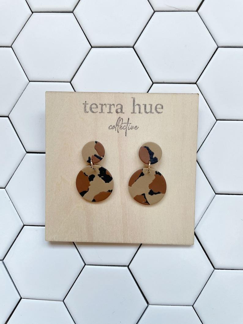 lightweight gifts for her handmade statement earrings polymer clay earrings SUZIE leopard terrazzo