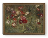 Antique floral oil painting, Printable flower wall art, Downloadable poppies print