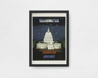 Vintage wall art Digital download Printable wall art travel Washington DC politics Capitol Hill Us