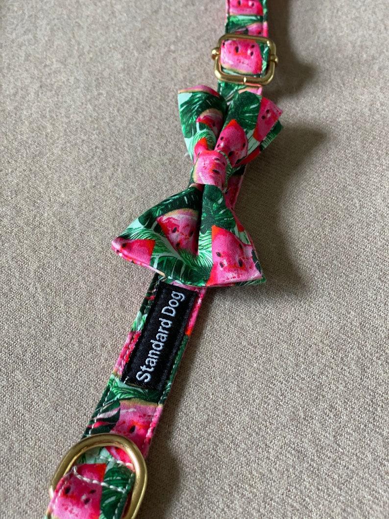 large dog collar dog collar with bow green dog collar Watermelon leaf dog collar small dog collar Pink Dog collar Standard Dog Collar