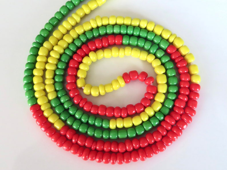 Belly chain for weight loss Ghana beads tie on belly beads Rasta Colour African waist beads 0-60 inches Red Yellow and Green