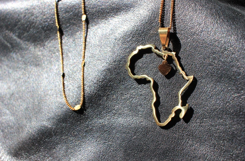 country necklace -Gold plated Stainless steel Necklace- Africa African necklace African African map cut out heart necklace