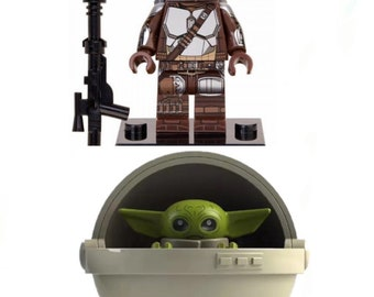 Baby Yoda In A Cot & Mandalorian Custom Mini Figure Compatible With Popular Brick Toy The Baby Star Wars