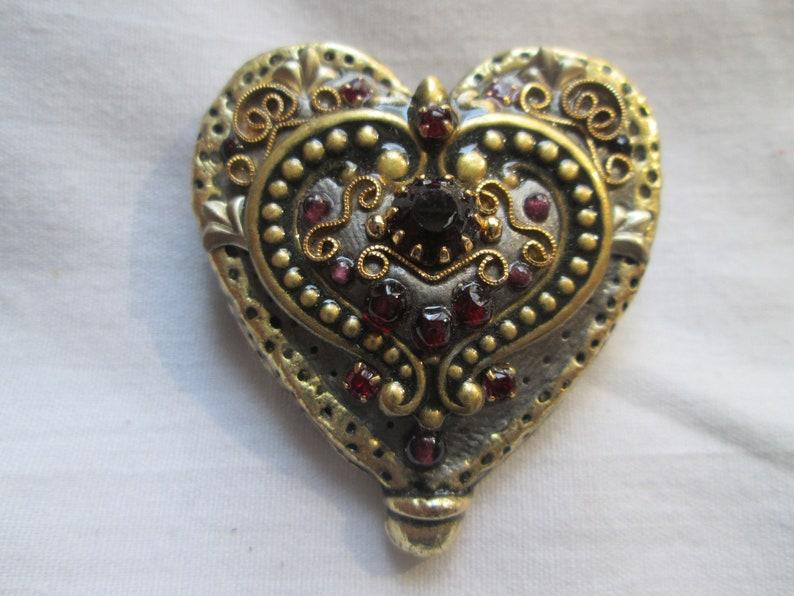 Michal Golan Garnet Rhinestone Heart Gold Tone Brooch