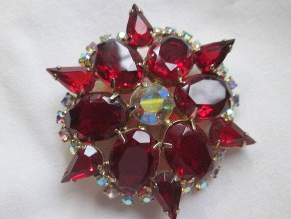 Juliana Open Back Red Star Rhinestone Crystal Broo