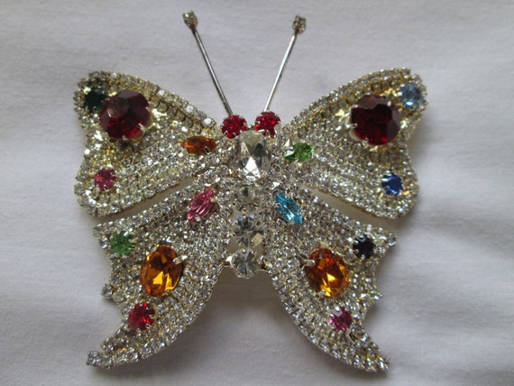 HUGE Pave Rhinestone Butterfly Brooch Multi Colore