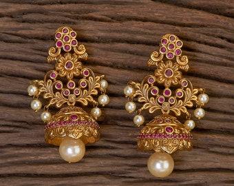 Handmade Matte Golden Finish White Beads Yellow Stone Jhumki Jhumka Party Earring ER3336