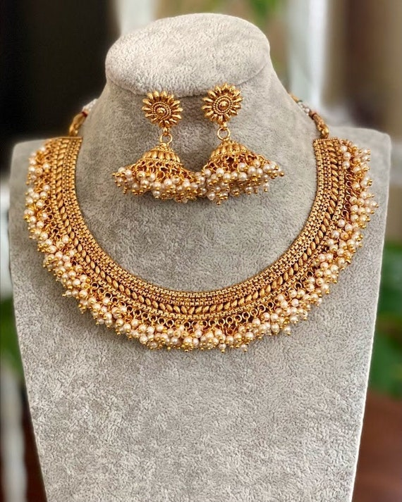 Gold Necklace Indian Gold Necklace Set Indian Choker Pearl Necklace  guttapusalu necklace temple jewelry jhumkas South Indian jewelry