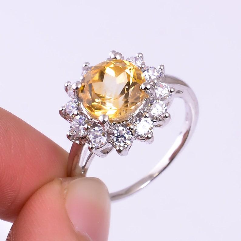 Natural Citrine RingCubic Zircon RingEngagement RingElegant RingMothers Day GiftSilver RingNovember Birthstone RingRound Stone Ring
