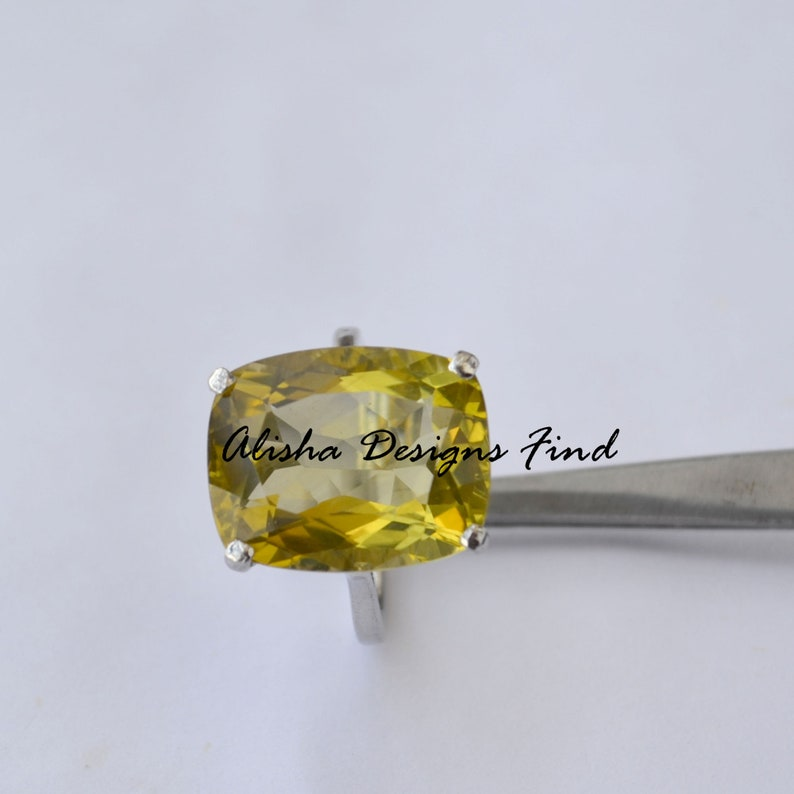 Octagon Citrine 925 Solid Silver Women RingNovember Birthstone RingProng Setting RingEngagement RingGift For HerCitrine Prong Ring