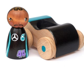 Lewes Hamilton PRE-ORDER Dream Big painted wooden peg doll and racing car, inspirational people for kids, toy racing car, diverse toys