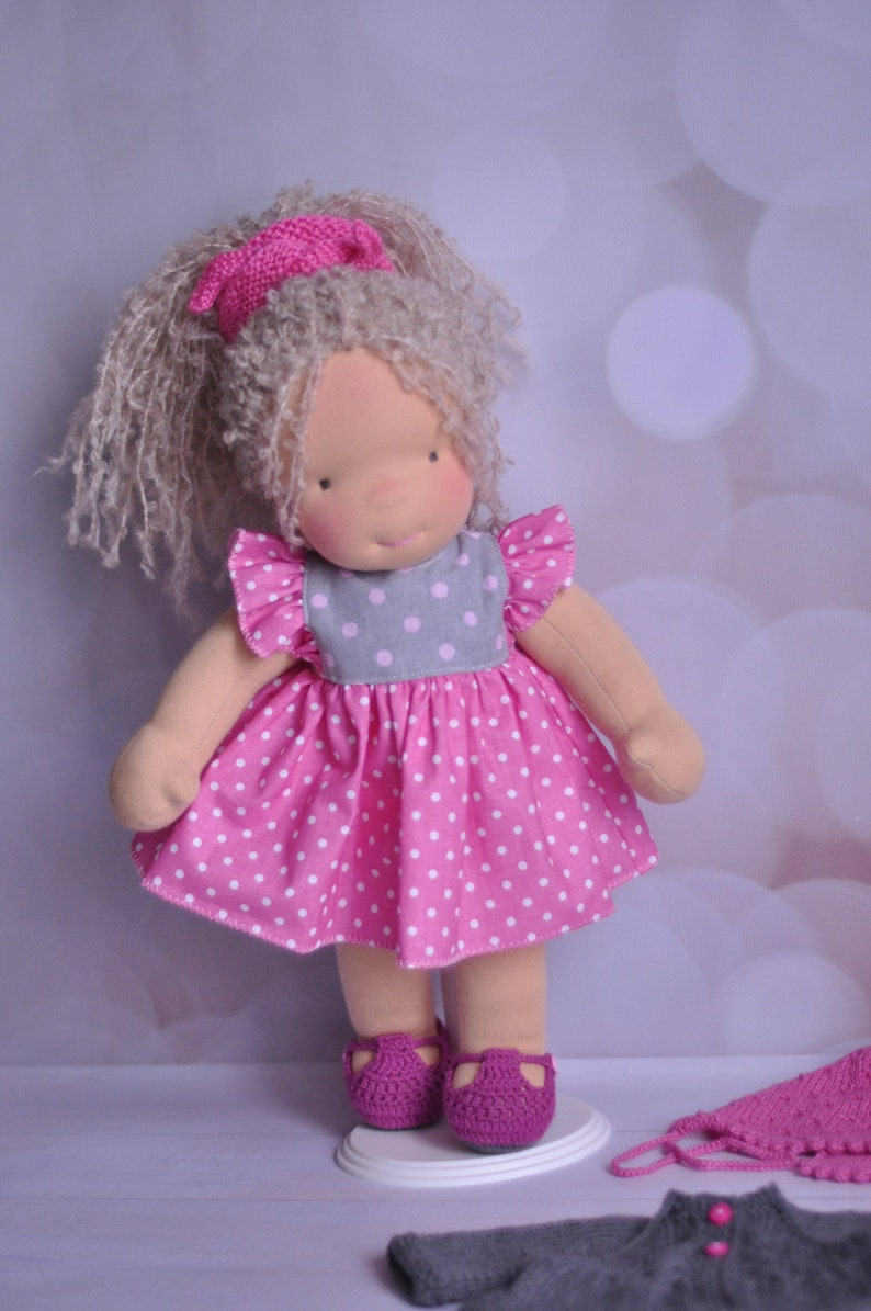 Waldorf Rag Doll with Long Blond Hair 15 38cm Tall image 0