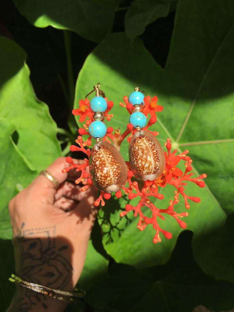 Cowrie Turquoise Bead 14 KGF Earrings