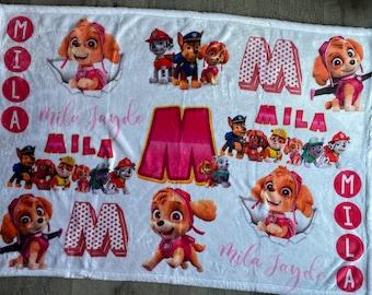 Paw Patrol Theme Blanket   Personalized Blanket   Kids Blanket