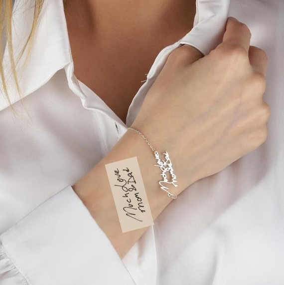 Handwriting Bracelet - Custom Actual Handwriting Jewelry - Signature Bracelet - Memorial Personalized Keepsake Gift - Mothers Day Gift