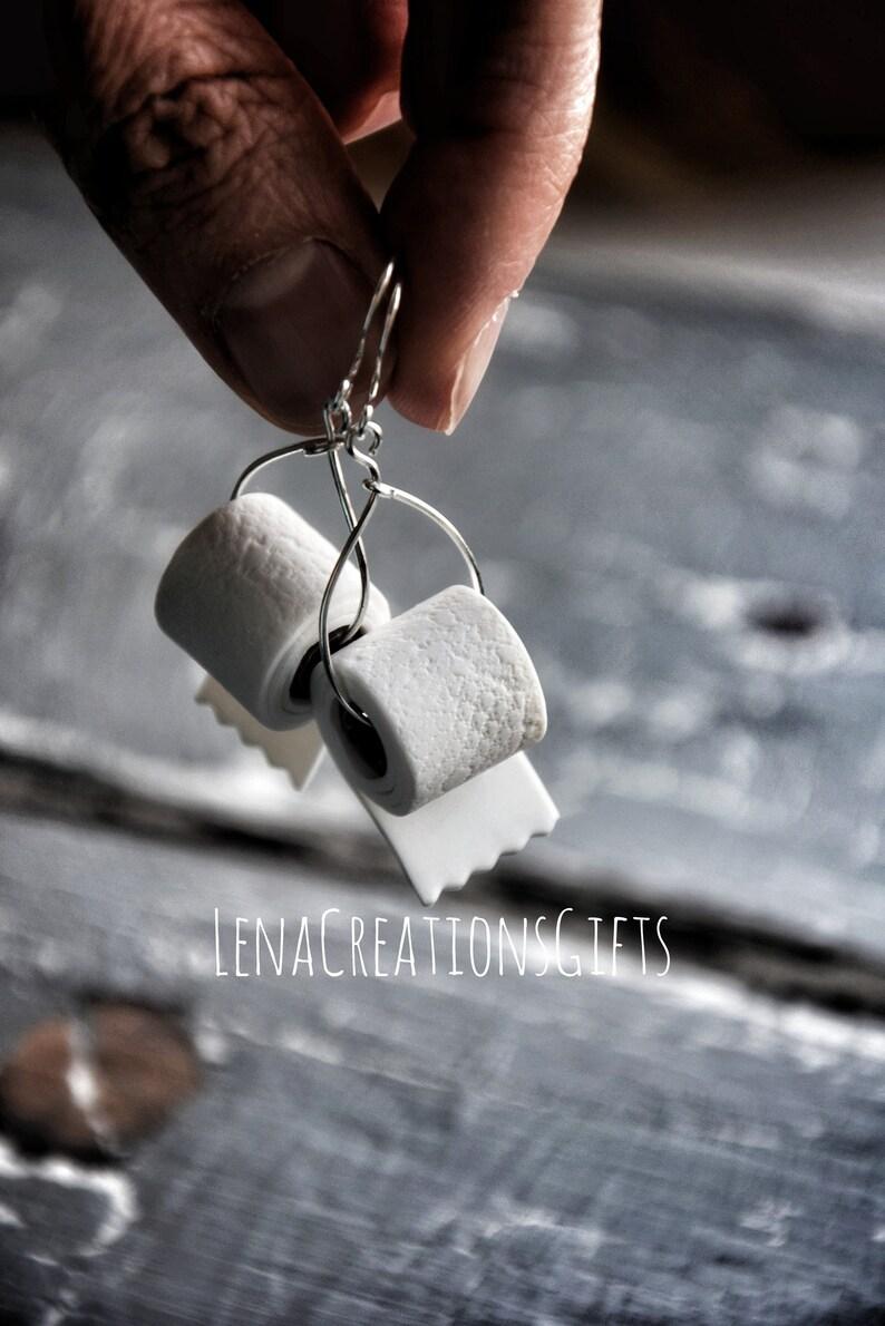 Toilet Paper Earrings Sterling Silver Toilet Paper Earrings image 3