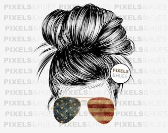 Waterslide For Tumblers American Tumbler Design American Flag Bun Sublimation Design Messy Bun Sunglasses Headband PNG Instant Download